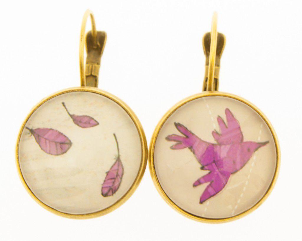 Boucles d\'oreilles cabochons oiseaux violets liligambettes