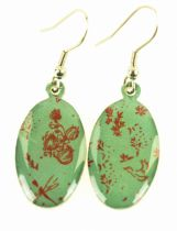 Boucles d\'oreilles Nénuphars verts Liligambettes