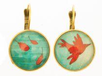 Boucles d\'oreilles oiseaux bleus Liligambettes