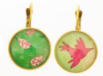Boucles d\'oreilles pendantes oiseaux verts liligambettes