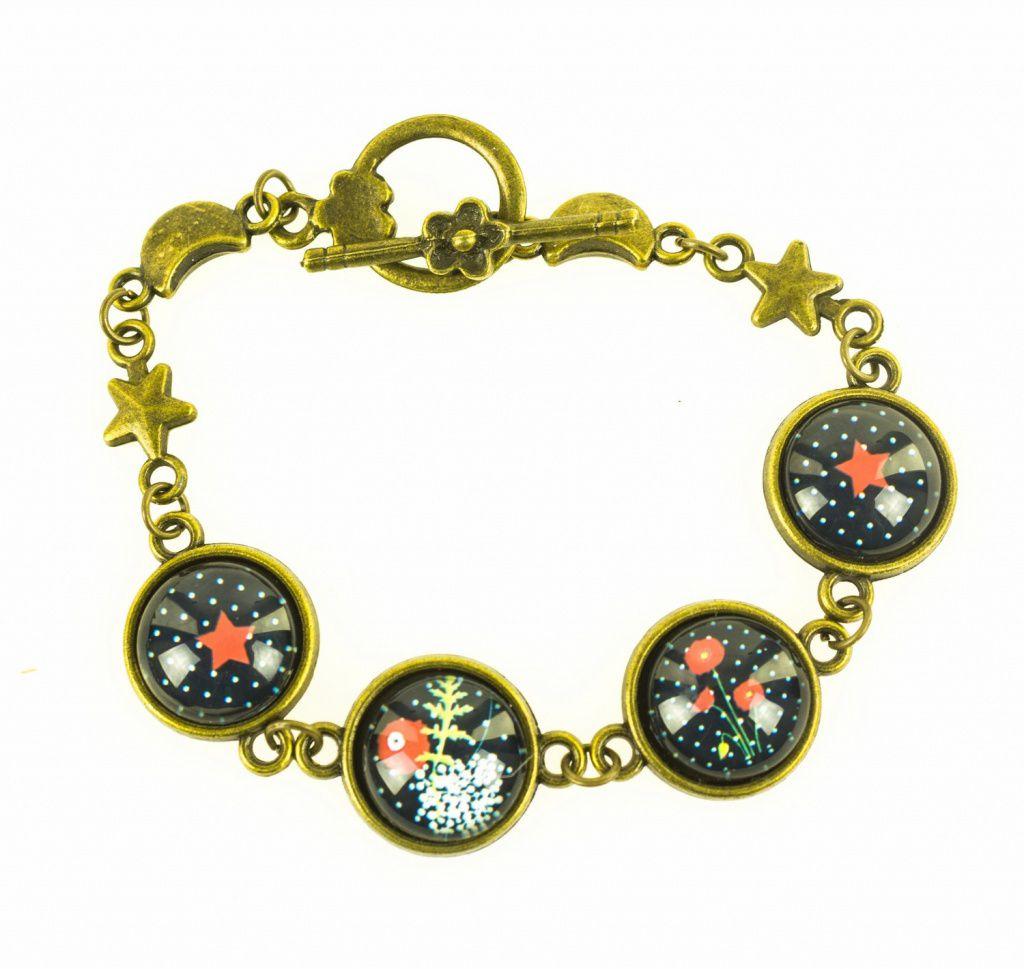 Bracelet original coquelicots noirs Lili gambettes