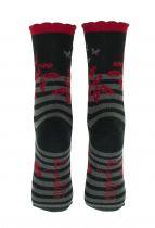 Chaussettes à rayures noires coton bio Liligambettes thème folio