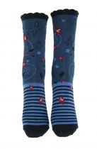 Chaussettes bleues coton biologique Liligambettes thème edelweiss