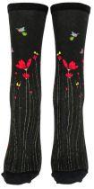 Chaussettes fantaisie fleurs rouges Liligambettes