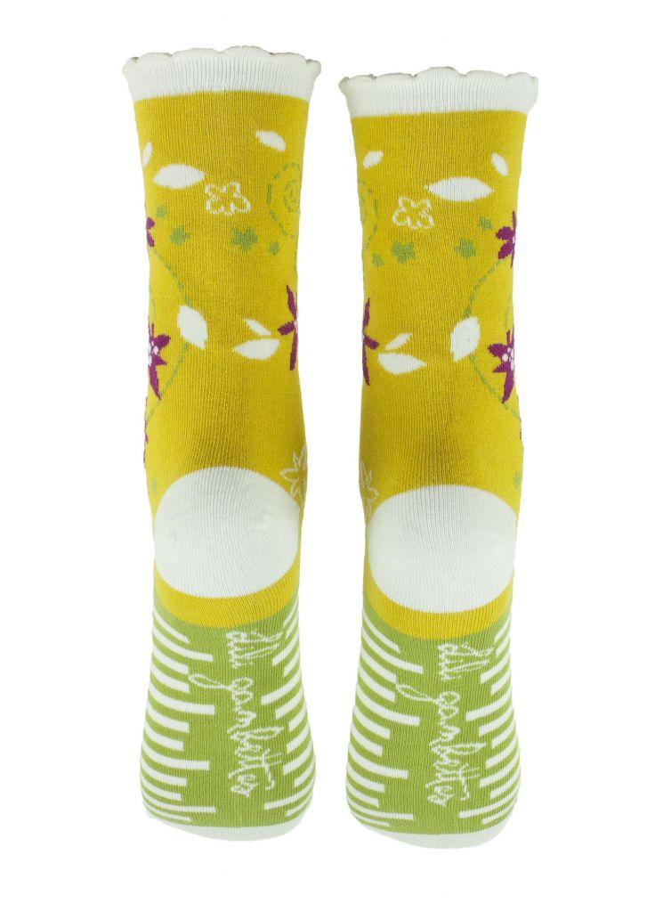 Chaussettes jaunes coton biologique Liligambettes thème edelweiss