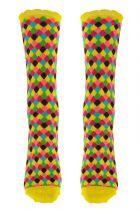 Chaussettes multicolores fantaisie en coton biologique damiers Lili gambettes