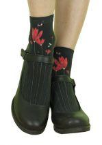 Chaussettes originales imprimées Liligambettes thème fleurs rouges