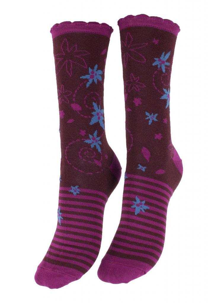 Chaussettes violettes coton bio Liligambettes thème edelweiss