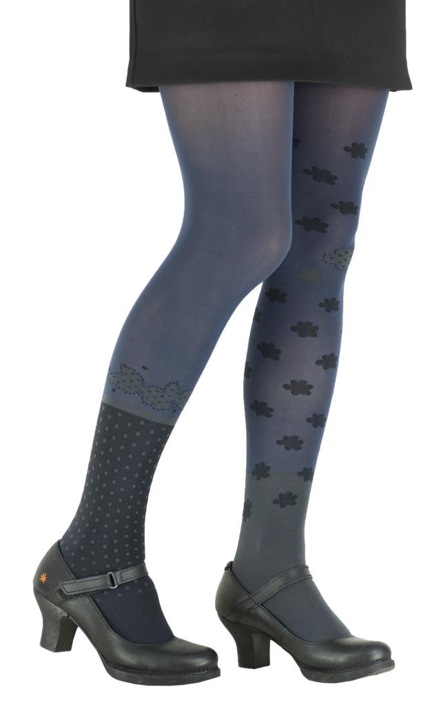 Collants à fleurs fantaisie polka bleu marine Lili gambettes
