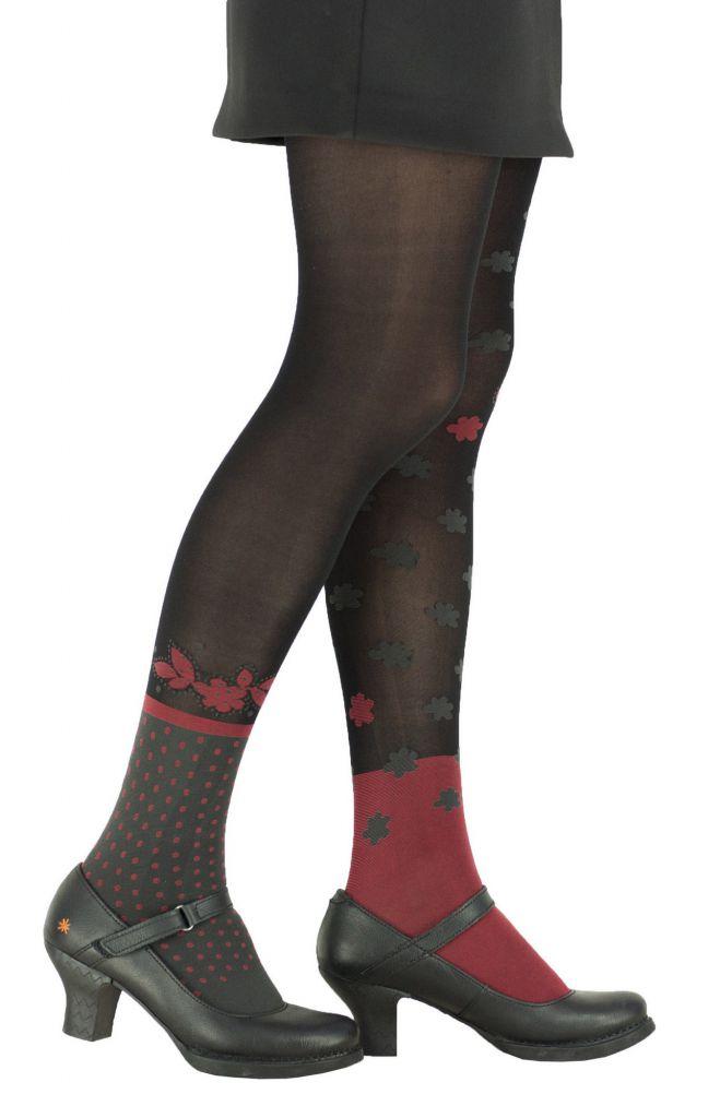 Collants à fleurs fantaisie polka rouge Lili gambettes