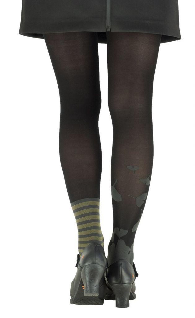 Collants à motifs fleuris Ginkgo noirs Lili gambettes