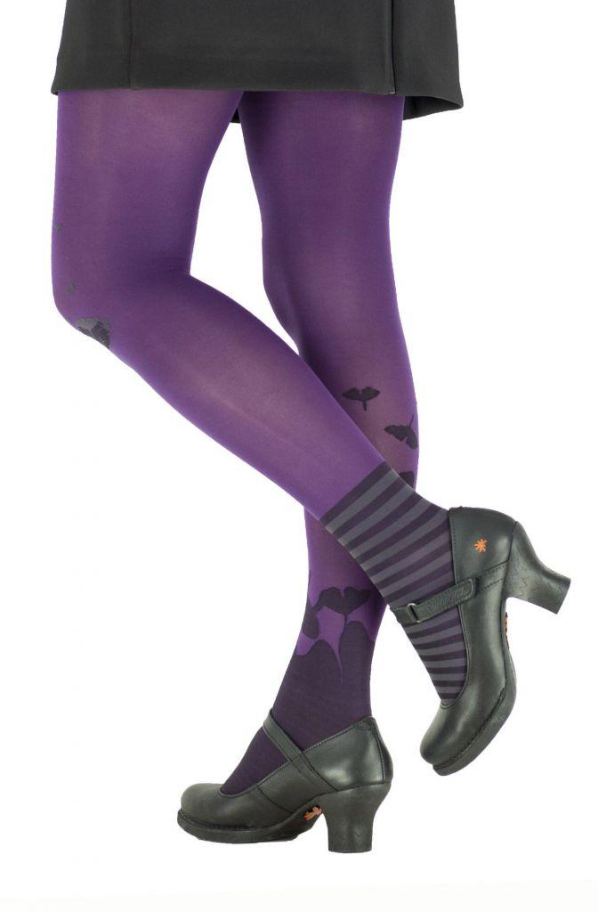 Collants à motifs fleuris Ginkgo violet lili gambettes