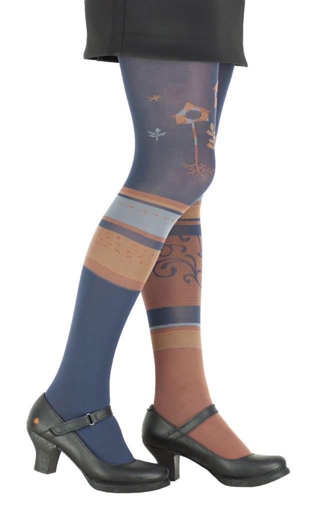 Collants à motifs Jacquard bleu marine Cabane Lili gambettes