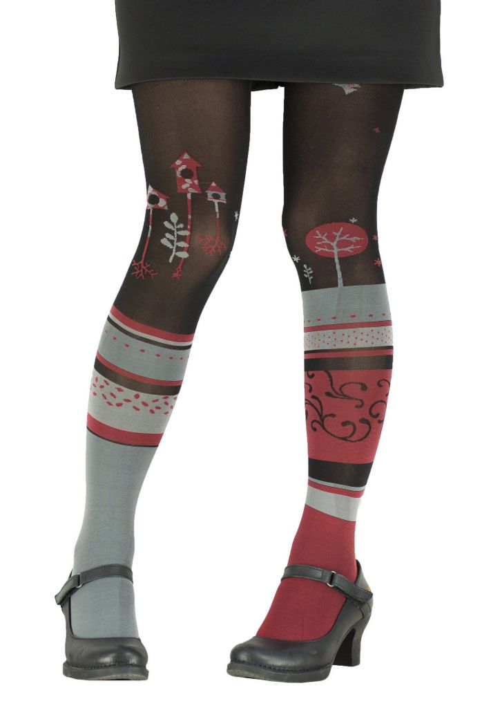 Collants à motifs Jacquard rouges Cabane Lili gambettes