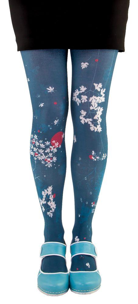 Collants bleus imprimés coriandre Liligambettes