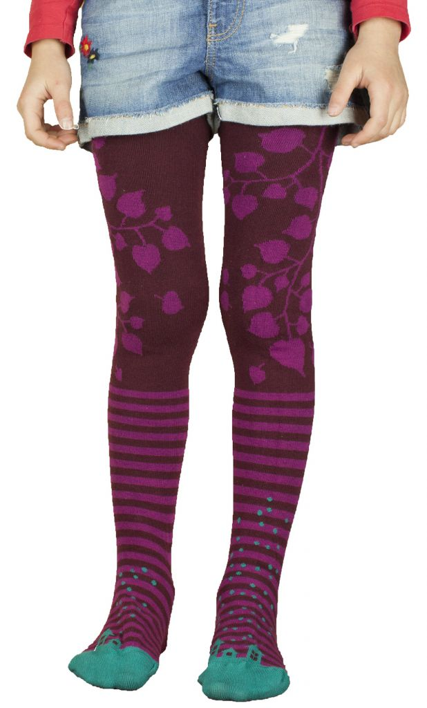 Collants colorés fille Liligambettes en coton bio thème maison