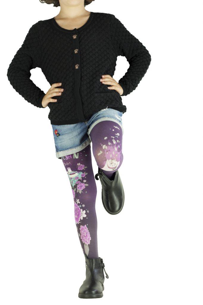 Collants enfant fantaisie imprimés Kitsch violets Lili gambettes