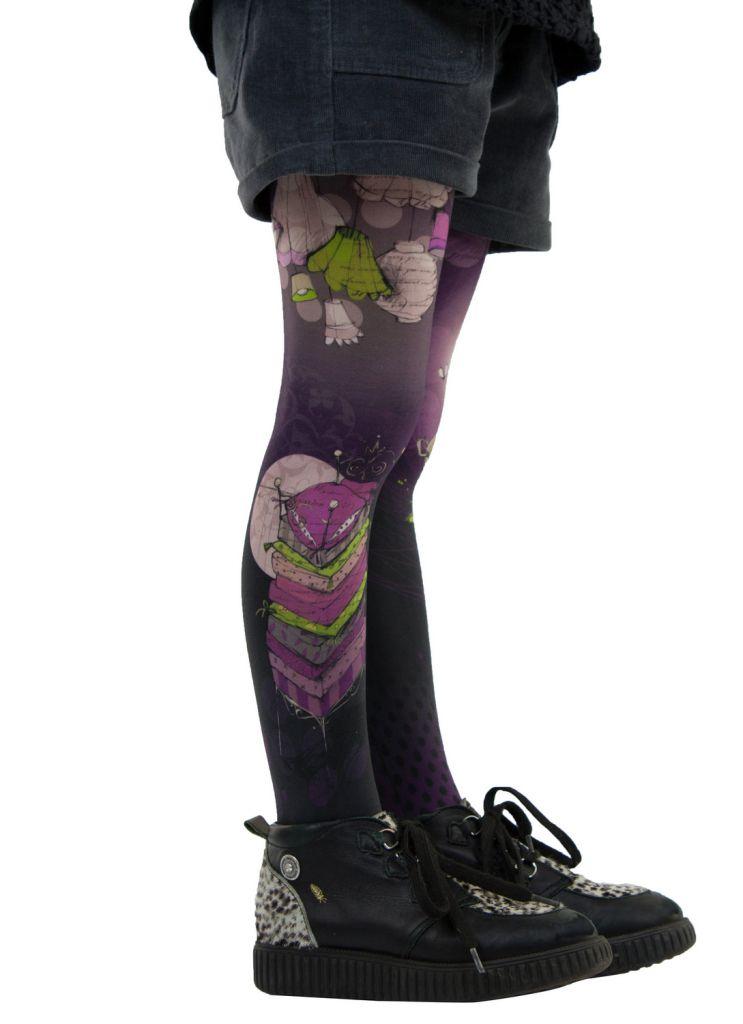 Collants enfant fantaisie violets petit pois Lili gambettes