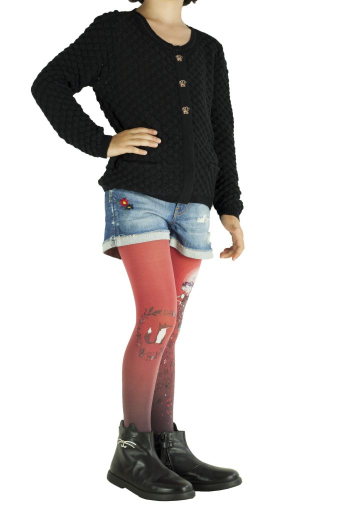 Collants enfant imprimés originaux Folk rouge Lili gambettes