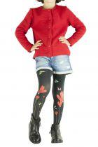Collants enfant noirs imprimés à fleurs rouges Lili gambettes