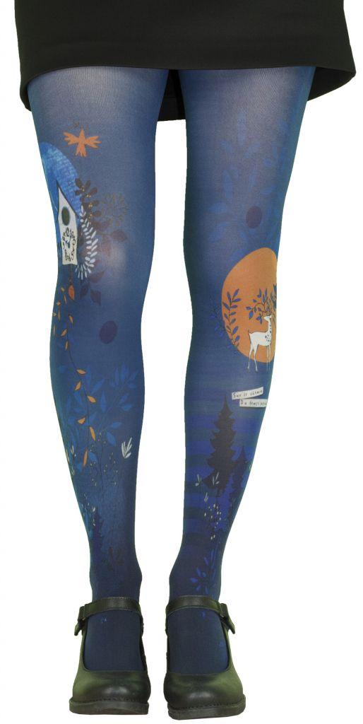 Collants fantaisie bleus grande taille Liligambettes thème coucou
