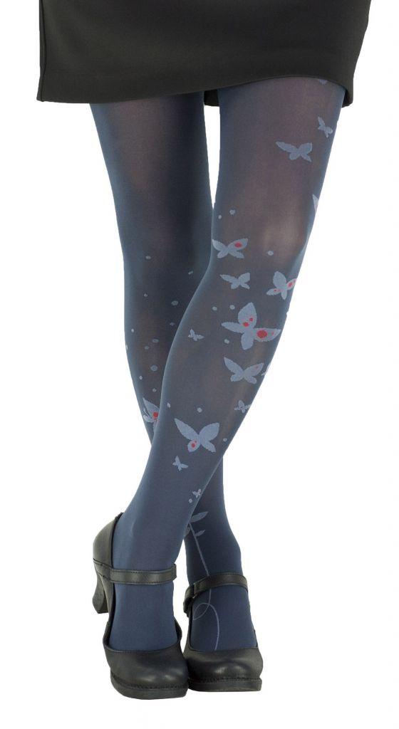 Collants fantaisie en lycra bleu marine Papillon Lili gambettes