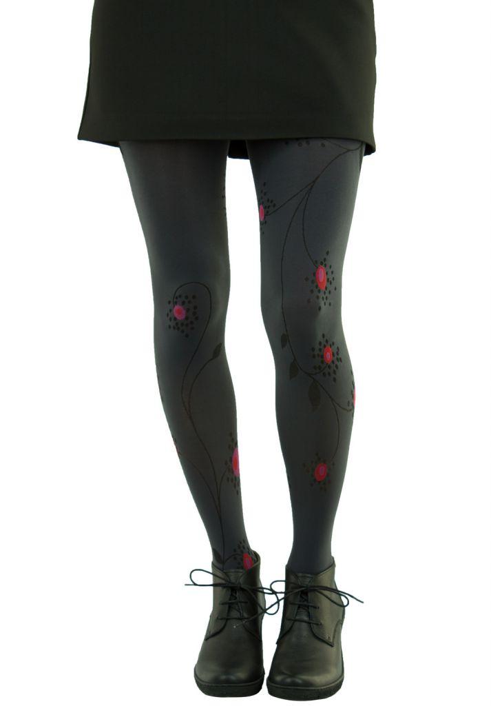 Collants fantaisie en lycra fleurs grises Lili gambettes