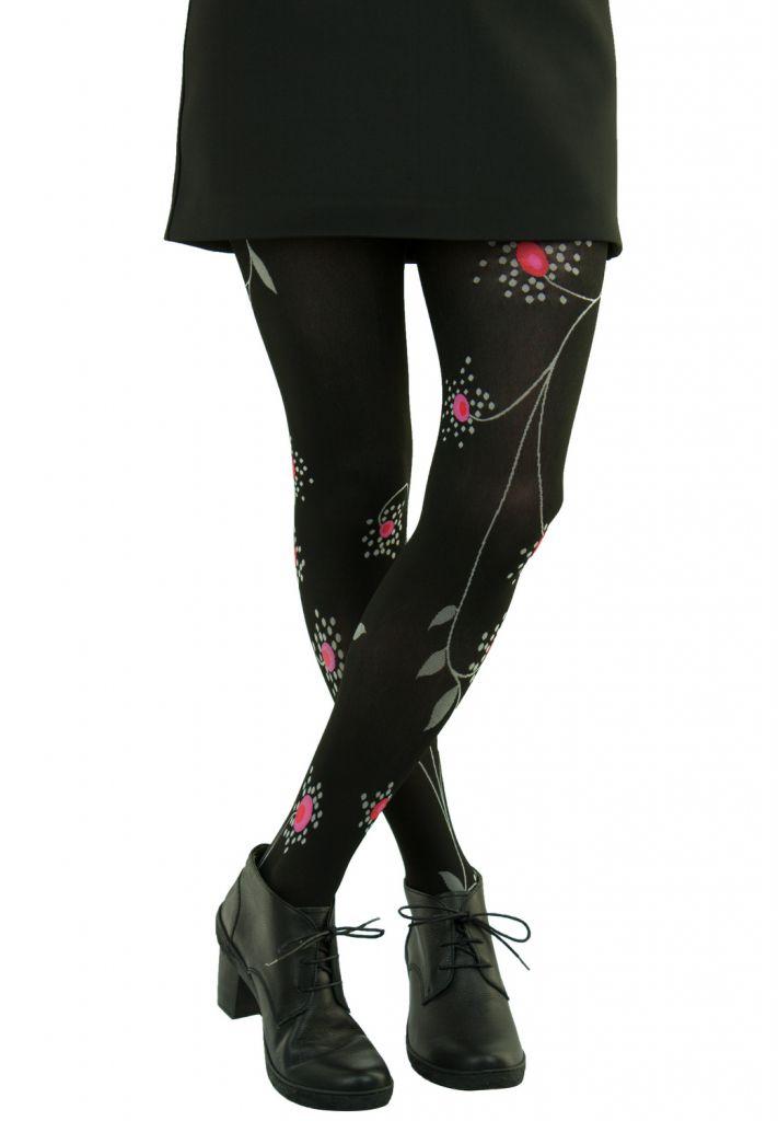 Collants fantaisie en lycra fleurs noires Lili gambettes