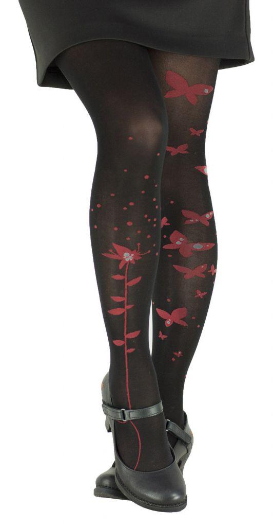Collants fantaisie en lycra rouges Papillon Lili gambettes