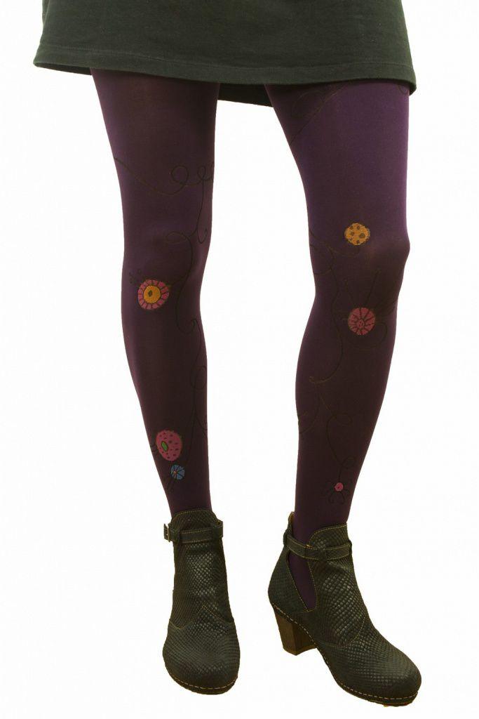 Collants fantaisie guirlande violet Lili gambettes
