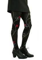 Collants fantaisie noirs en lycra roses rouges Lili gambettes