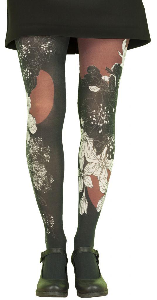 Collants femme imprimés noirs grande taille Liligambettes thème Japon