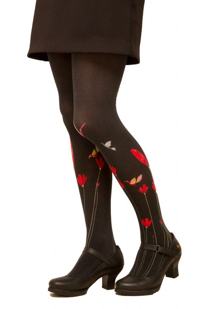Collants imprimés noirs à fleurs rouges Lili Gambettes