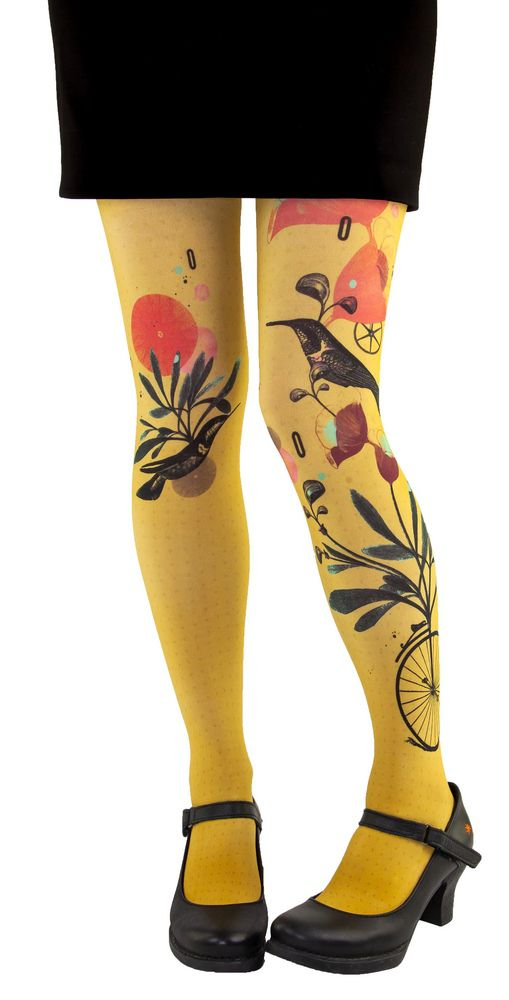 Collants jaunes fantaisie colibri Liligambettes
