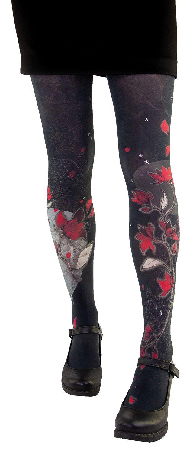 Collants noirs Liligambettes imprimés magnolia