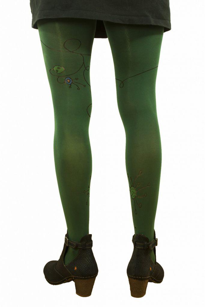 Collants opaques guirlande vert Liligambettes