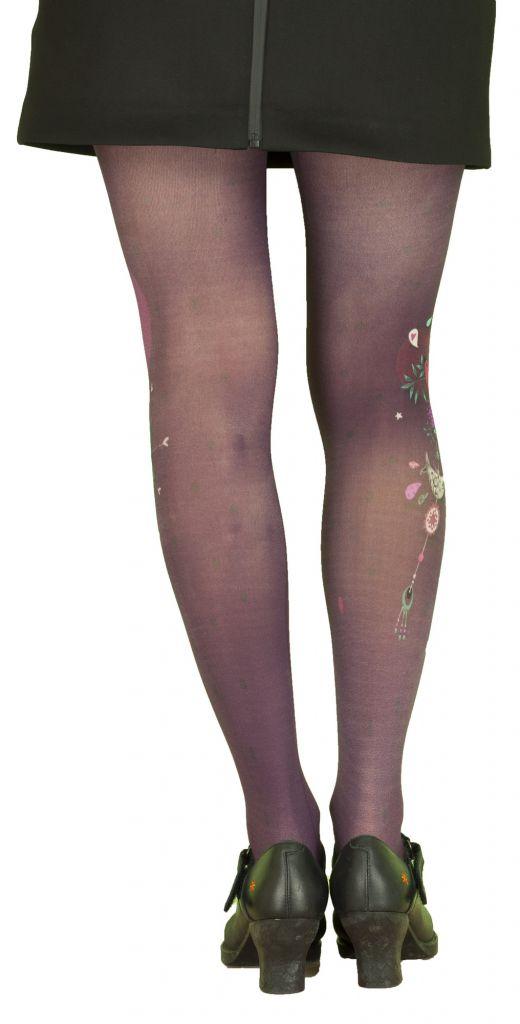 Collants originaux violets grande taille Liligambettes thème guirlande