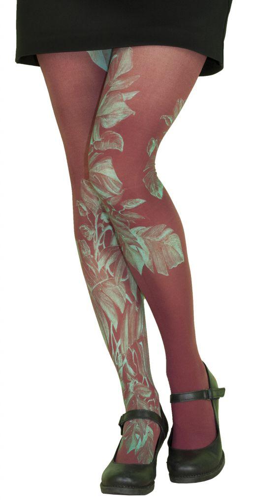 Collants rouges fantaisie Liligambettes thème végétal