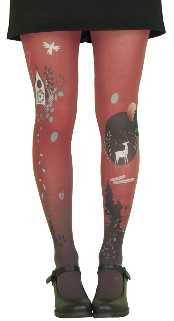 Collants rouges imprimés grande taille Liligambettes thème coucou