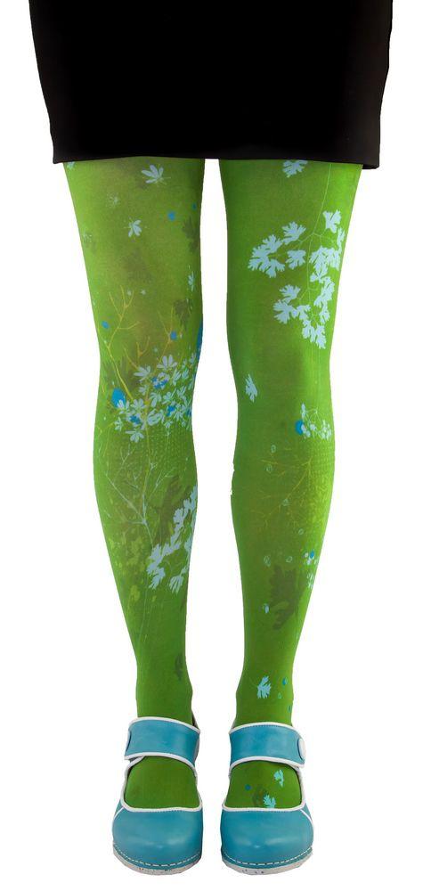 Collants verts imprimés coriandre Liligambettes