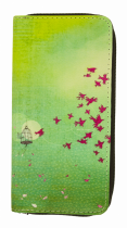 Compagnon portefeuille oiseaux verts Liligambettes