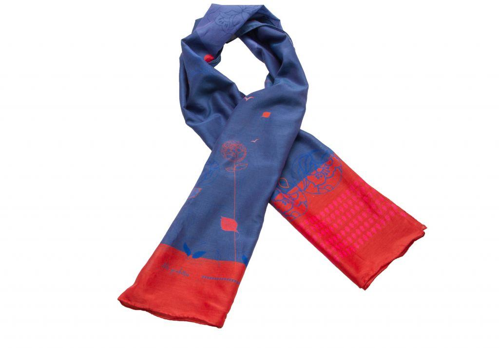 Foulard bleu et rouge à motifs fleuris Lili Gambettes