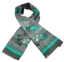 Foulard en soie et coton thème aqua vert Lili gambettes