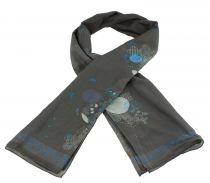 Foulard en soie gris et bleu thème Japan Lili gambettes
