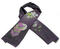 Foulard en soie violet thème petits pois Lili gambettes