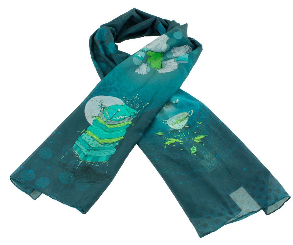 Foulard femme en soie bleu thème petits pois Lili gambettes