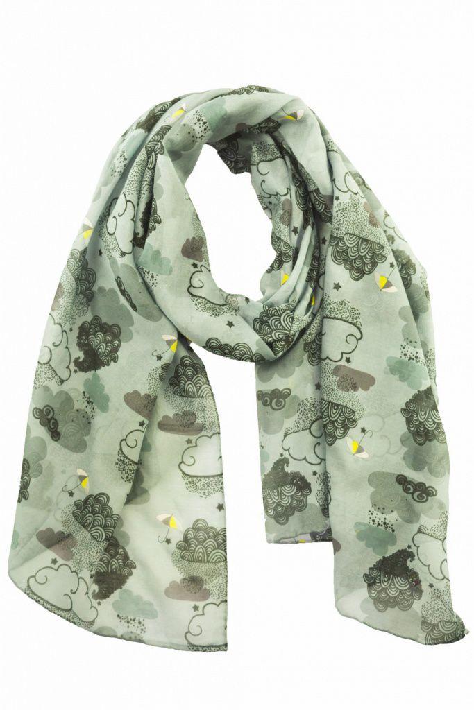 Foulard gris imprimé en soie et coton Liligambettes
