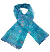 Foulard imprimé en soie à fleurs thème tazuko Lili gambettes