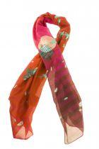 Foulard oiseaux rouges en soie Lili gambettes
