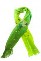 Foulard oiseaux verts en soie lili gambettes